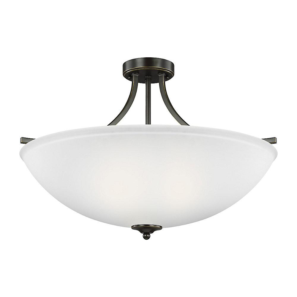 Lustre Geary à quatre ampoules avec abat-jour blanc, Fini bronze - Energy Star