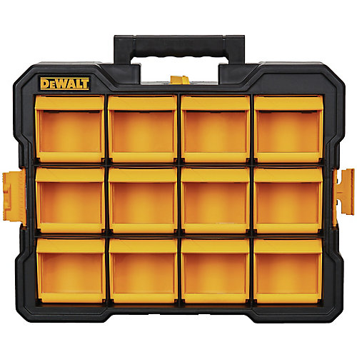12-Compartment Small Parts Organizer Flip Bin