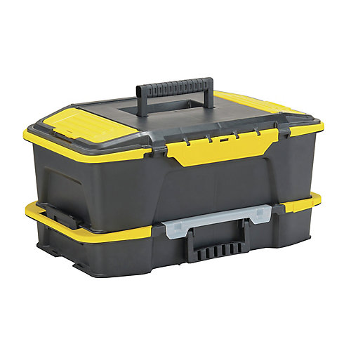 Cliquez sur'N Connect 20-inch 2-in-1 2-in-1 Deep 1-Touch Latch Tool Box and Organizer