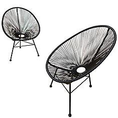 Hidalgo - Ensemble de 2 chaises de patio (Noir)
