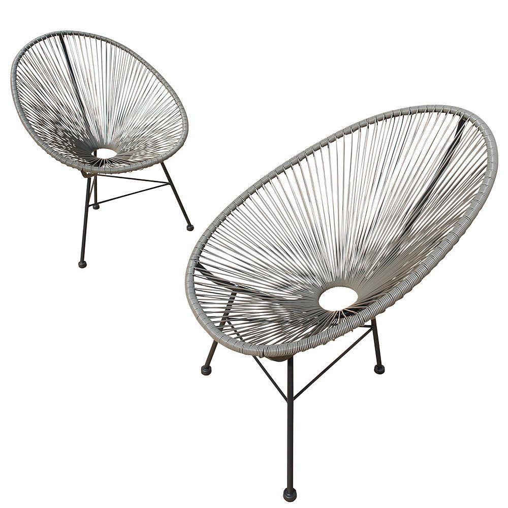 Sirio Hidalgo - Ensemble de 2 chaises de patio (Gris)