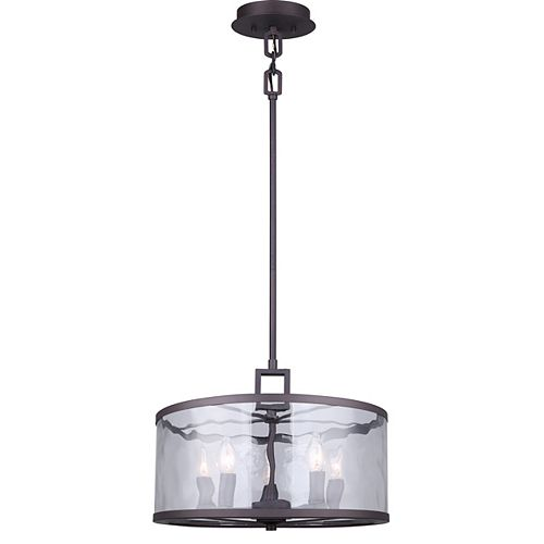 Canarm Cala 5-Light Oil Rubbed Bronze Chandelier with Watermark Glass