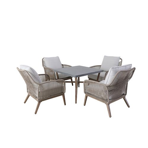 Hampton Bay Luxley 5-Piece All-Weather Wicker String Patio Chat Set with White Cushion