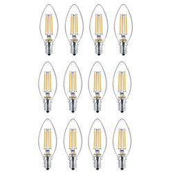 Philips 25W Equivalent Soft White Glass (2700K) Chandelier Candelabra Base LED Light Bulb (12-Pack)