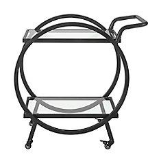 32 inch Modern Contemporary Round Frame Serving Bar Cart - Black