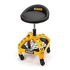 23-inch H x 16-inch W x 16-inch D Adjustable Height Shop Stool with Casters in Yellow