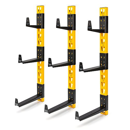DEWALT 36-inch H 3-Piece Wall Mount Steel Cantilever Rack in Yellow