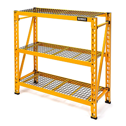 48-inch H x 50-inch W x 18-inch D 3-Shelf Steel / Wire Deck Industrial Storage Rack Unit in Yellow