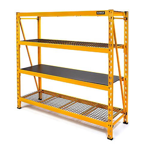 72-inch H x 77-inch W x 24-inch D 4-Shelf Steel / Laminate Industrial Storage Rack Unit in Yellow