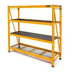 DEWALT 72-inch H x 77-inch W x 24-inch D 4-Shelf Steel / Laminate Industrial Storage Rack Unit in Yellow