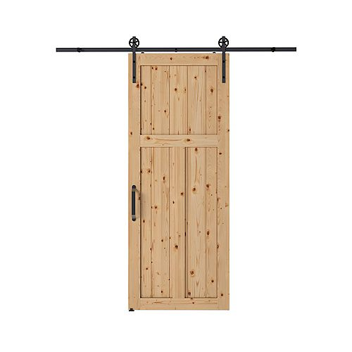 Colonial Elegance 37-inch x 84-inch x 1 3/8-inch Craftsman Style Barn Door Kit with 78-inch Chariot Rail System and Forge Handle