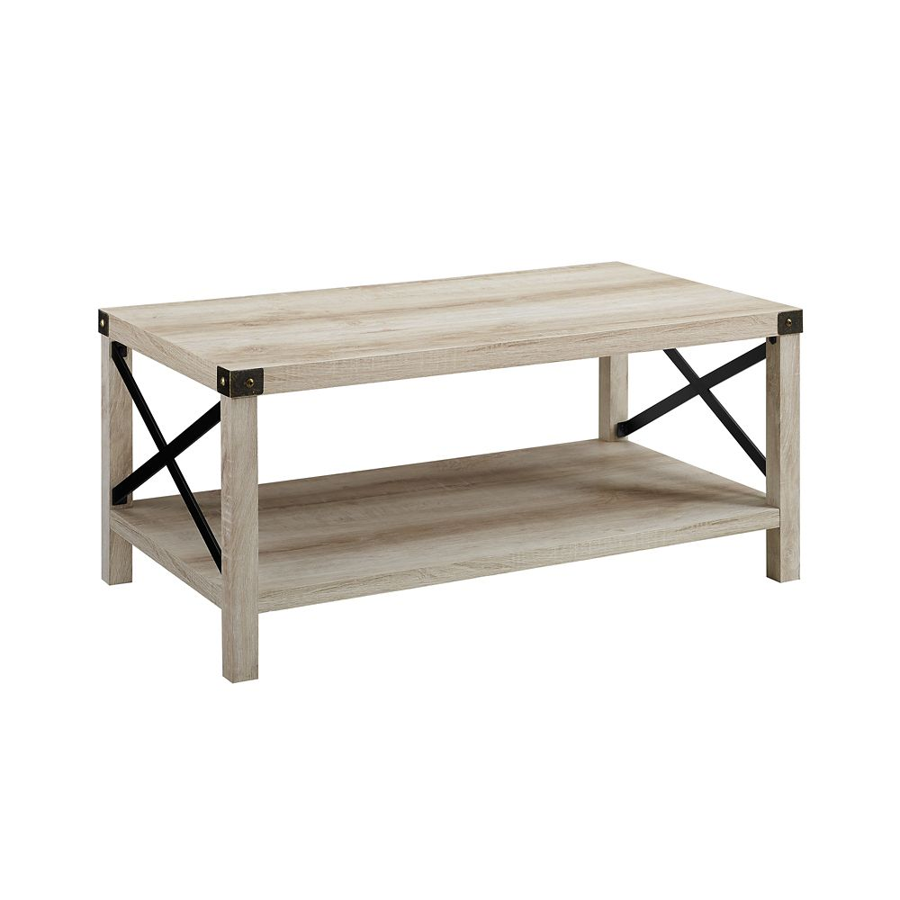 - Welwick Designs Rustic Wood Coffee Table - White Oak/Bronze The