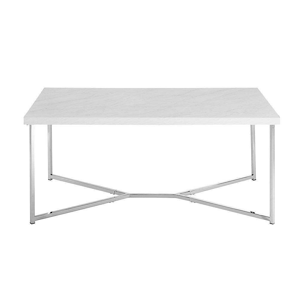 Mid Century Modern Coffee Table White Faux Marble Chrome