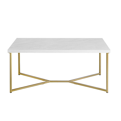 Mid Century Modern Marble Gold Rectangle Coffee Table - White Marble/Gold