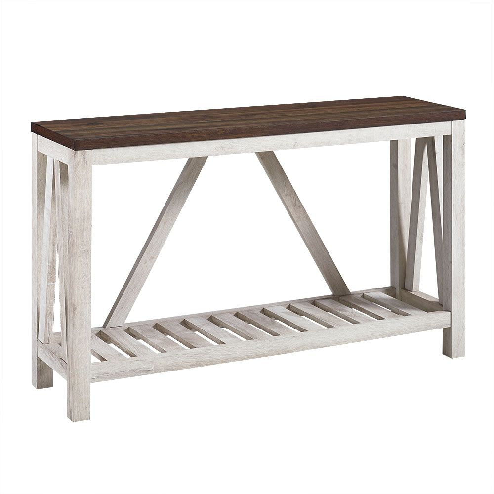 Modern Farmhouse Accent And Entryway Table Dark Walnut White Oak