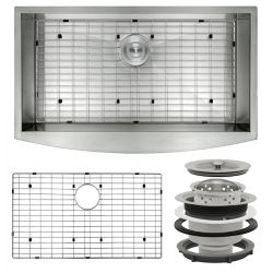 AKDY Handcrafted Apron Undermount Stainless Steel 33 inch x22 inch x9 inch  Single Bowl Kitchen Sink with Grid and Drain
