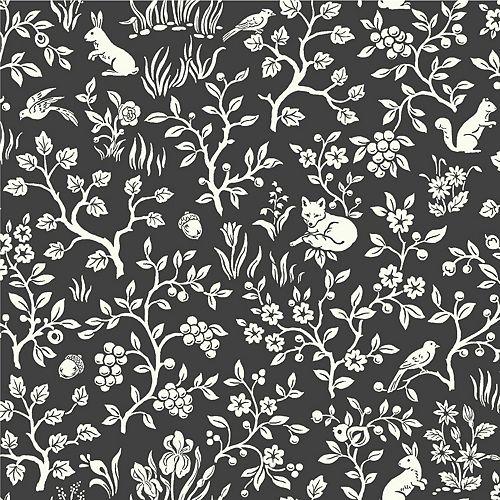 Joanna Gaines Fox & Hare Black Wallpaper