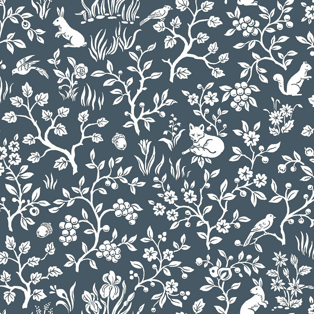 Joanna Gaines Fox & Hare Blue Wallpaper   The Home Depot ...