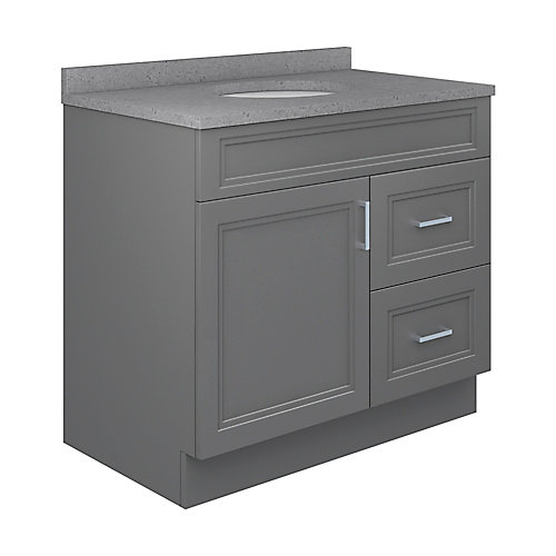 Sutton 37-inch W 22-inch D Vanity with Pewter Integrated Oval Bowl Top