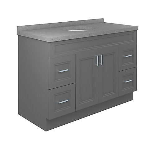 Sutton 49-inch W 22-inch D Vanity with Pewter Integrated Oval Bowl Top