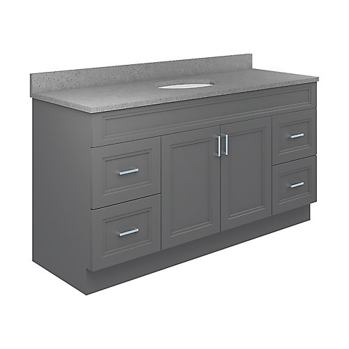 Sutton 61-inch W 22-inch D Vanity with Pewter Integrated Oval Bowl Top