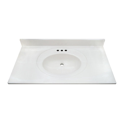 White Swirl 37-inch 22-inch Cultured Marble Oval Recessed Vanity Top