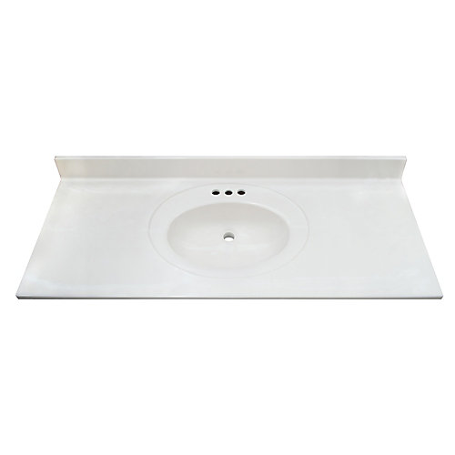 White Swirl 49-inch 22-inch Cultured Marble Oval Recessed Vanity Top