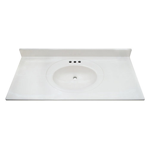 White Swirl 43-inch 22-inch Cultured Marble Oval Recessed Vanity Top