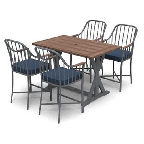 Hampton Bay Bedford Farmhouse 5pc Steel Ractangle Balcony Height Outdoor Patio Dining Set with Blue Cushions