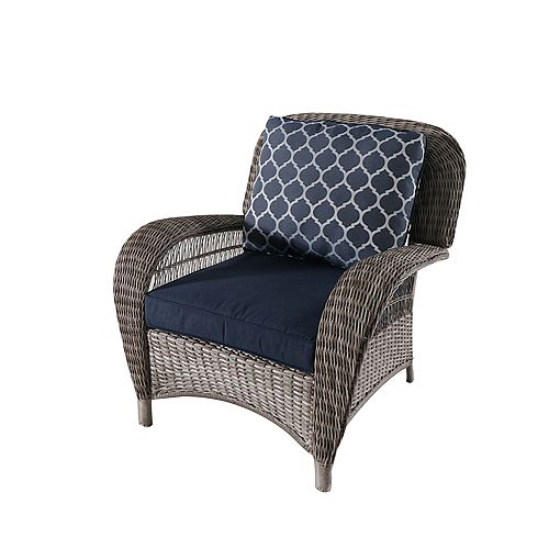 Hampton Bay Beacon Park Wicker Outdoor Patio Stationary Lounge Chair in Grey with Standard Midnight Trellis Navy Blue Cushions