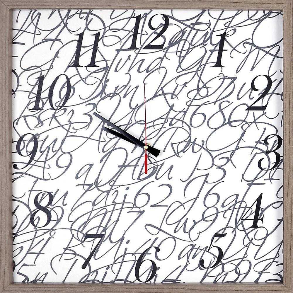 Chiffre Et Lettre Encadré Texture Décorative Silencieuse Art Horloge2125x2125blanc Noir Gris