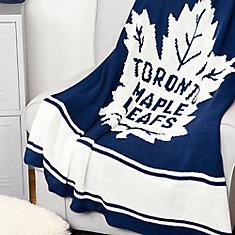 Jeté en tricot acrylique LNH - Maple Leafs de Toronto