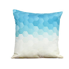 Faded Blue to White Outdoor Decor Pillow