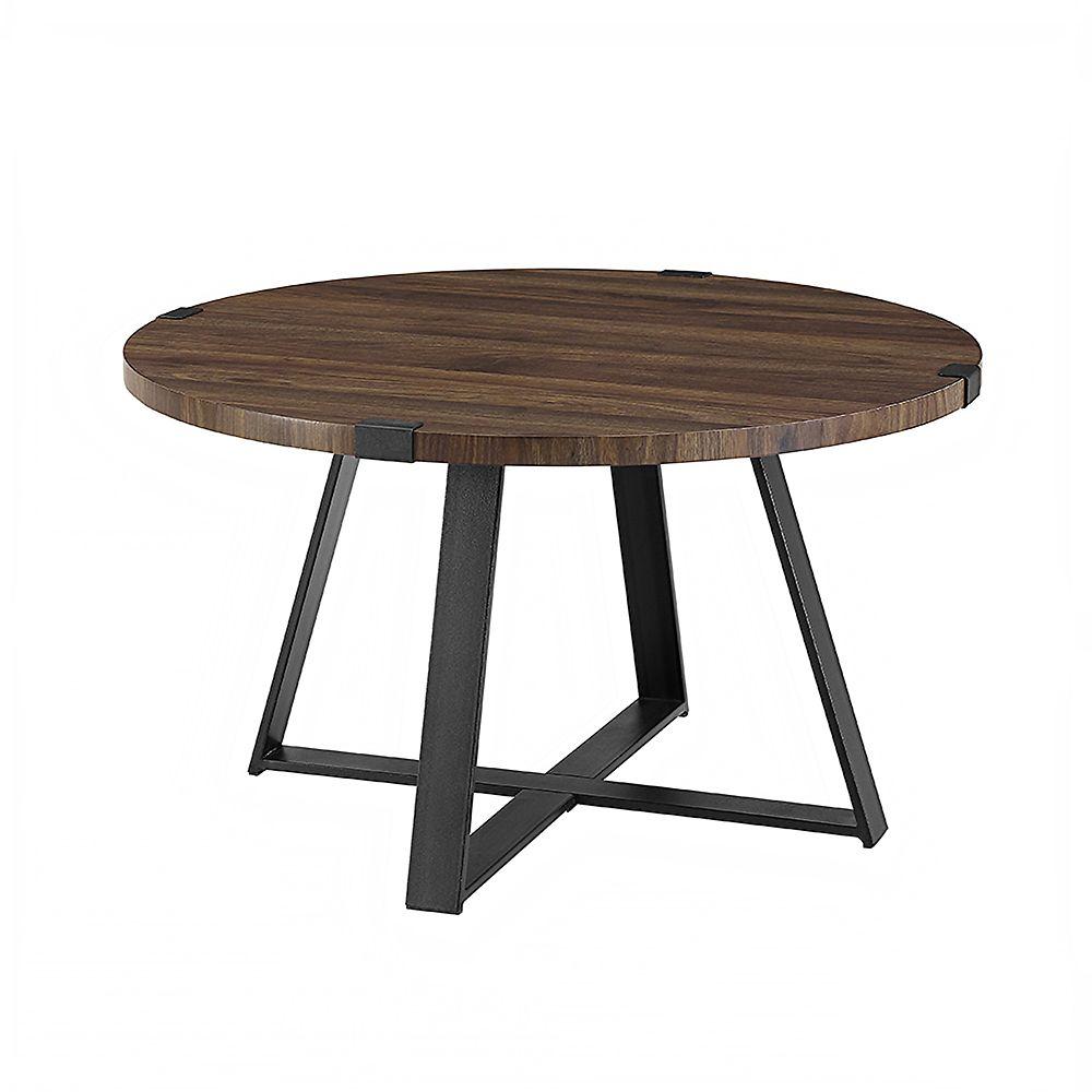 - Welwick Designs Rustic Round Coffee Table - Dark Walnut/Black