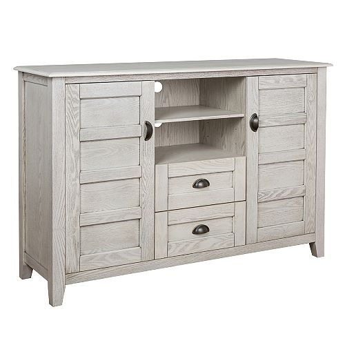 Welwick Designs Distressed Rustic Farmhouse TV Stand with Storage for TV's up to 56 inch - White Wash