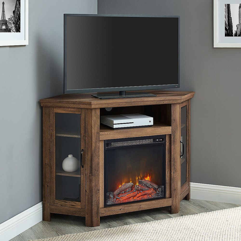Welwick Designs Tall Corner Fireplace TV Stand for TV's up to 52 inch - Reclaimed Barnwood