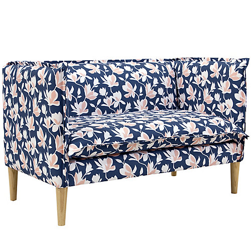 French Seam Settee in Silhouette Floral Navy Blush