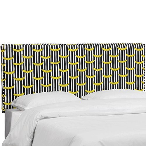Skyline Furniture Fairbanks Queen Box Seam Headboard in Banana Stripe Black