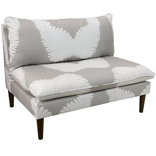 Capra Armless Love Seat with Grey Legs in Feather Deco Grey