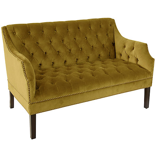 Bell Diamond Tufted Nail Button Settee in Regal Palm