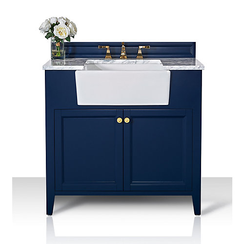 Adeline 36 inch W x 20.1 inch D Vanity Basin in Blue Carrara White Marble Counter-top Gold Hardware