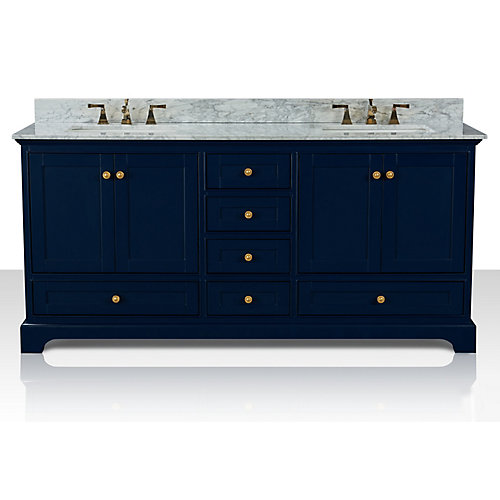 Audrey 72 inch W x 22 inch D Vanity Basin in Heritage Blue with Carrara Marble Counter-top