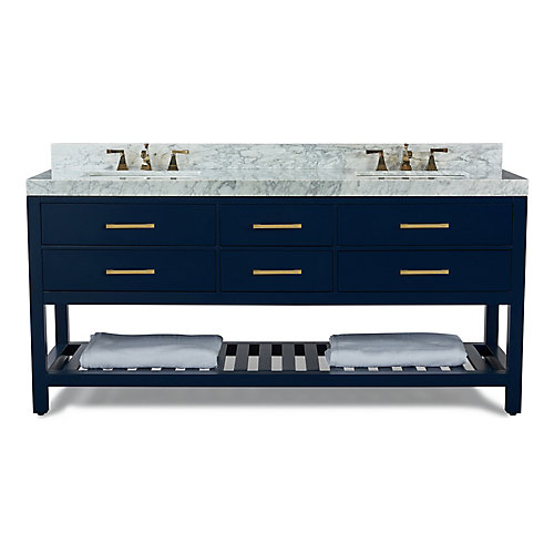 Elizabeth 72 inch W x 22 inch D Vanity Basin in Heritage Blue with Carrara Marble Counter-top