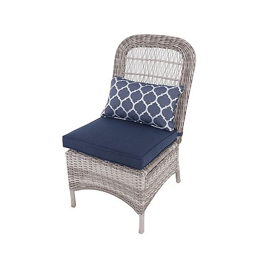 Hampton Bay Beacon Park Wicker Armless Patio Dining Chair in Midnight (Set of 2)