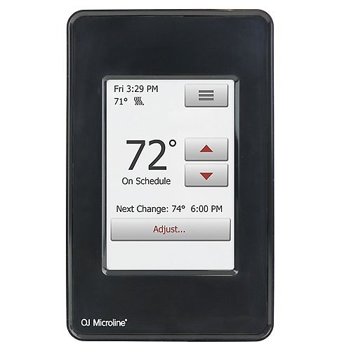 WarmlyYours nSpire Touch 120V/240V Programmable Touch Thermostat with Floor Sensor, Black