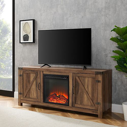Welwick Designs Farmhouse Barn Door Fireplace TV Stand for TV's up to 64 inch - Reclaimed Barnwood