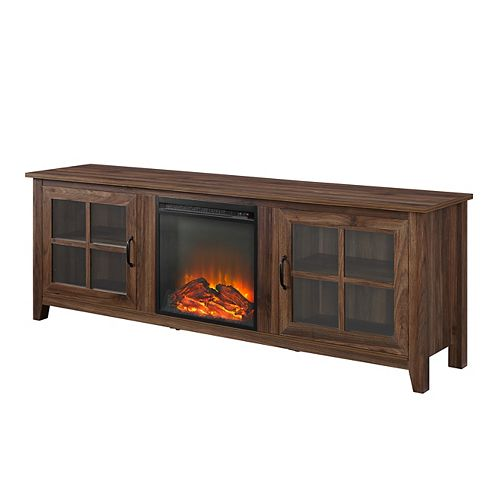 Welwick Designs Modern Farmhouse Fireplace TV Stand for TV's up to 78 inch - Dark Walnut