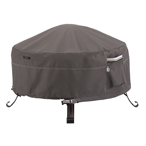 Classic Accessories Ravenna Full Coverage Round Fire Pit Cover - Outdoor Cover with Water Resistant Fabric, Large