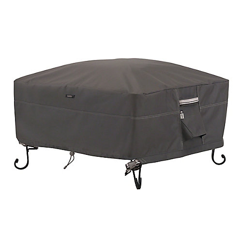 Ravenna Full Coverage Square Fire Pit Cover - Outdoor Cover with Water Resistant Fabric, Large