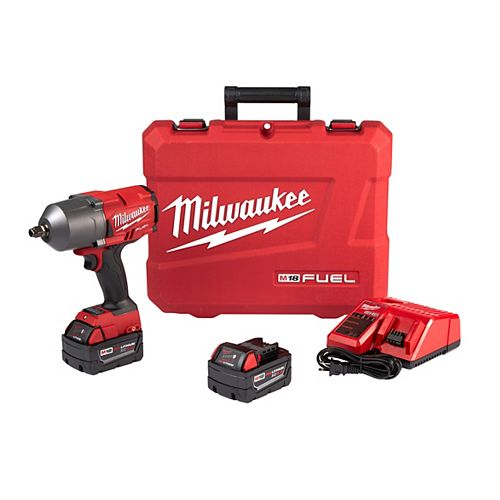 Milwaukee Tool M18 FUEL 18V Li-Ion Brushless Cordless 1/2 inch I-Wrench W/ Friction Ring Kit W/2 5.0 Ah Batteries